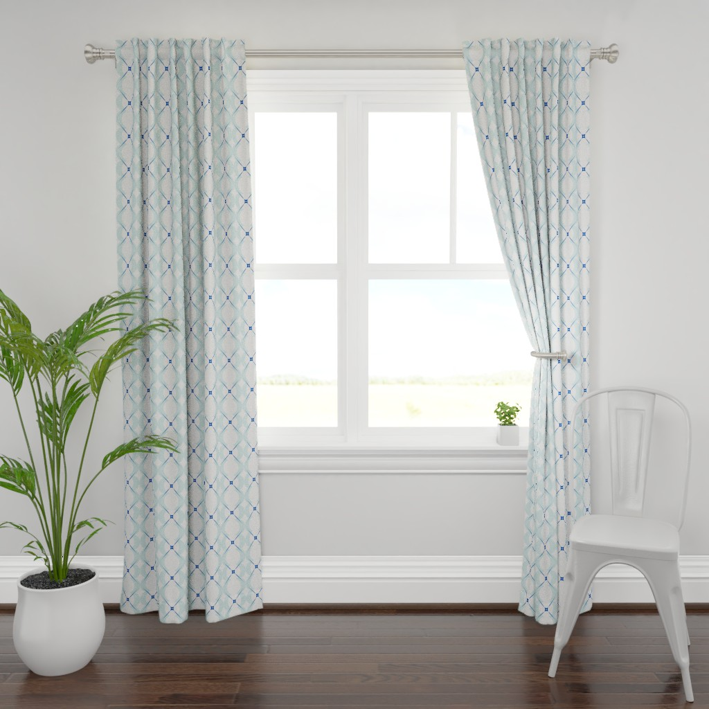 Plymouth Curtain Panel featuring circle_lattice_x_blue_2-ch by boxwood_press