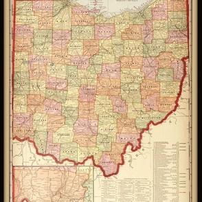 Ohio map, vintage, small