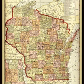 Wisconsin map, vintage, small