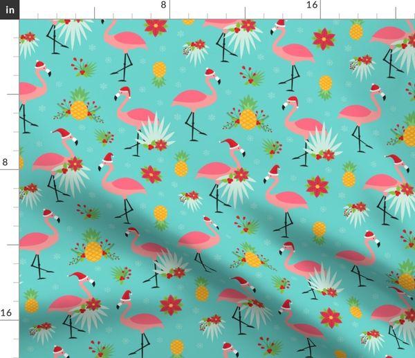 Tropical Christmas.Fabric By The Yard Tropical Christmas Flamingo Santas