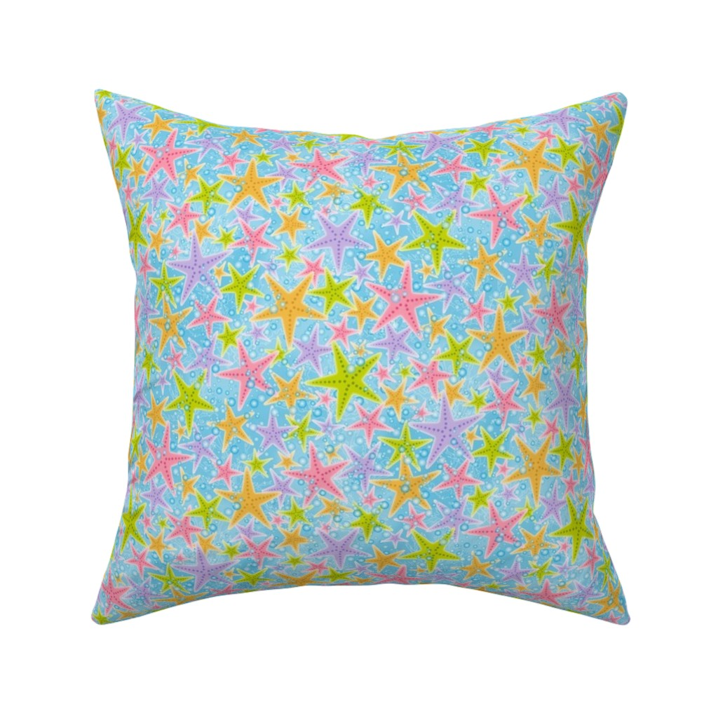 Catalan Throw Pillow featuring Starfish Shuffle (sm) by jjtrends