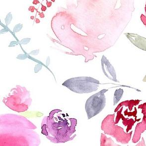 Watercolour Florals Vibrant on White XLARGE