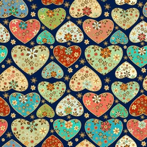Feative floral hearts