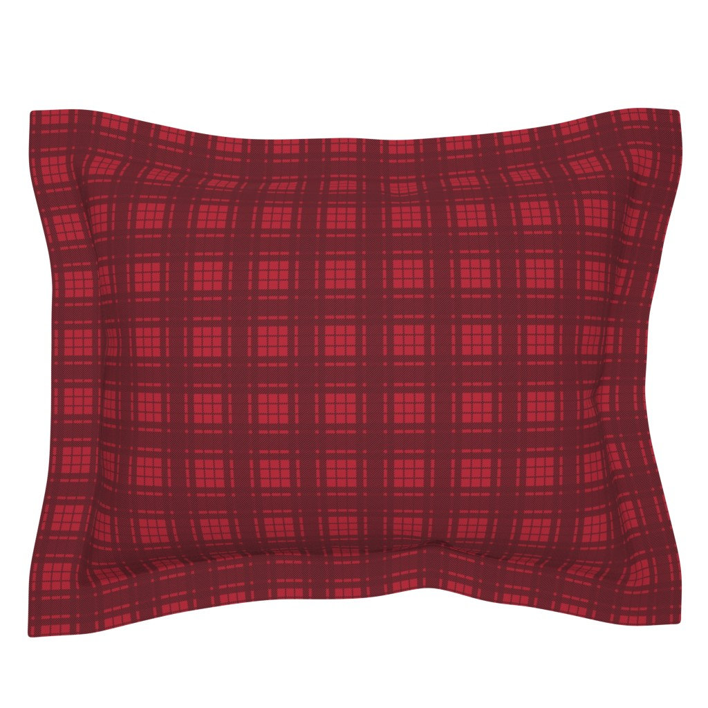 Sebright Pillow Sham featuring Lumberjack Plaid - Black and Red by papercanoefabricshop