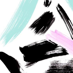 Black, mint and pink brush strokes