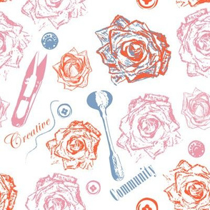 Antique spoon and vintage flowers