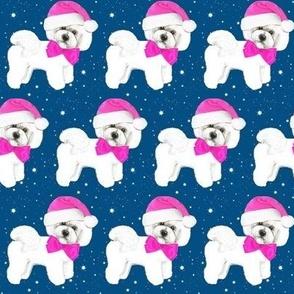 Santa Christmas pink, Bichon Frise  Christmas Santa with pink bow & santa hat