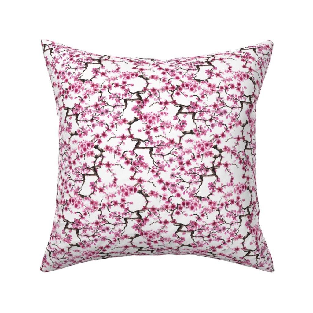 Catalan Throw Pillow featuring Sakura branches (small scale) by sveta_aho