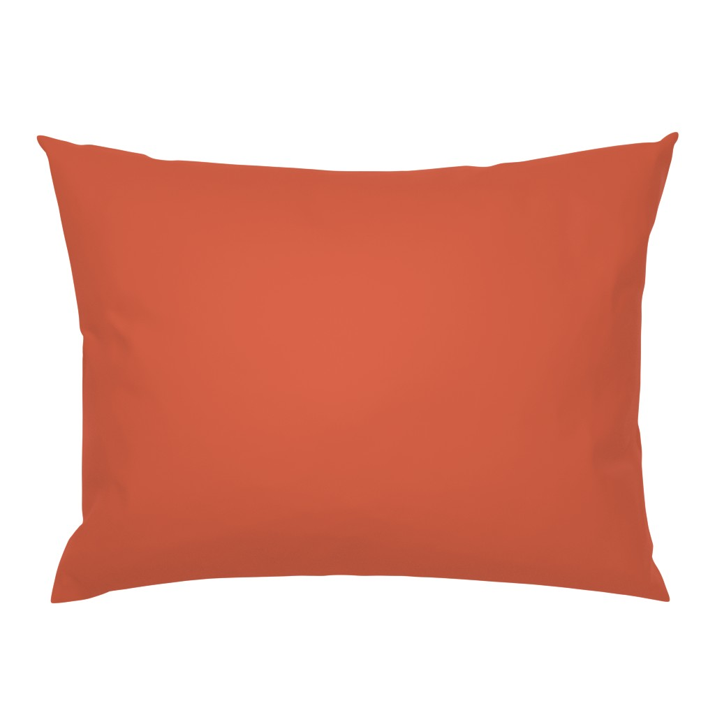Campine Pillow Sham featuring Bright Trees Red Solid by anniecdesigns