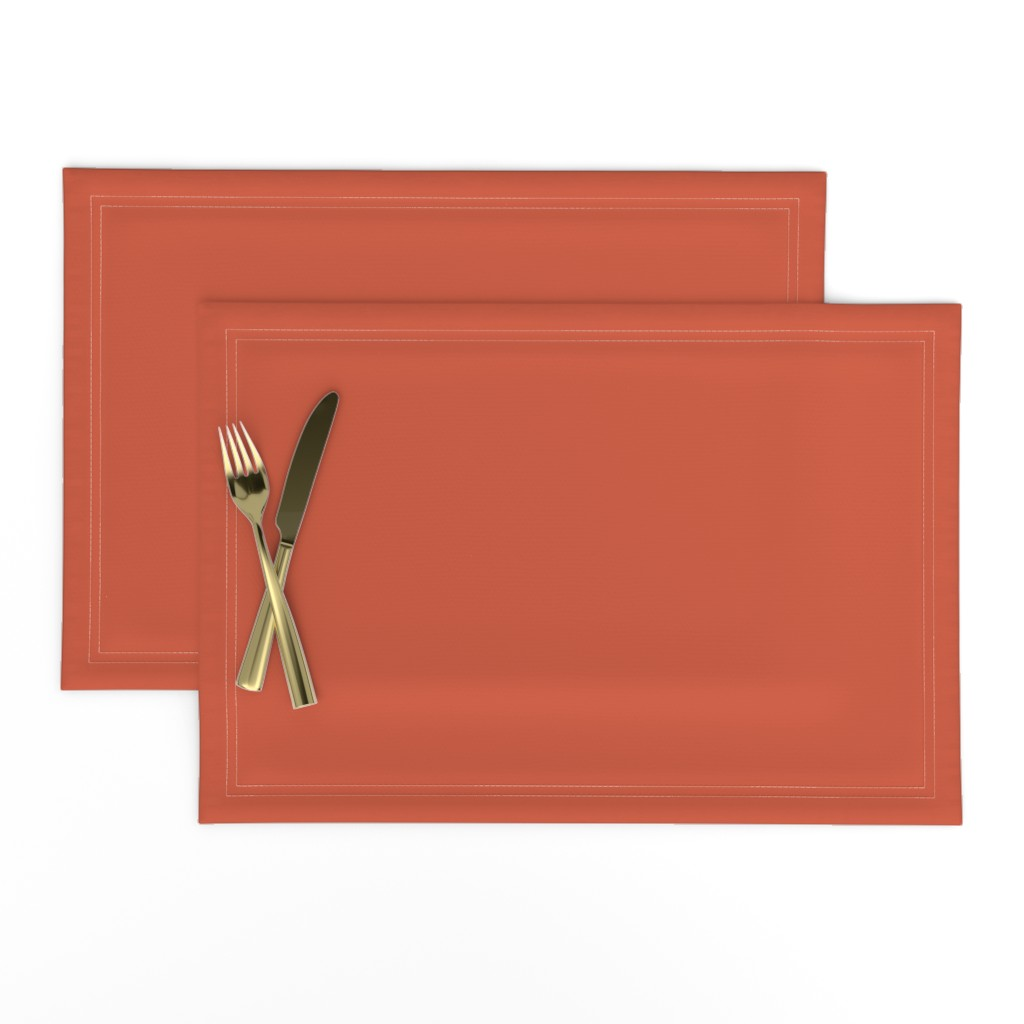Lamona Cloth Placemats featuring Bright Trees Red Solid by anniecdesigns