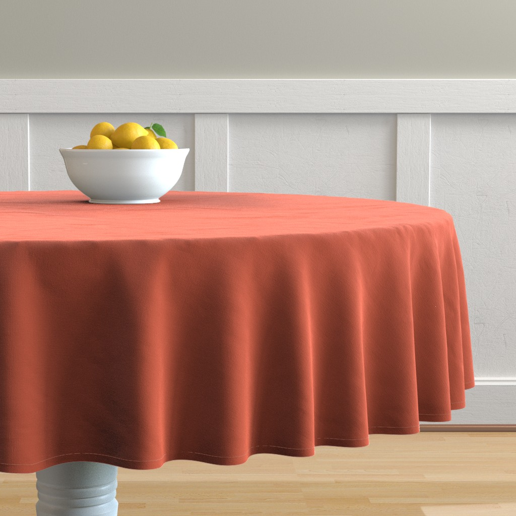 Malay Round Tablecloth featuring Bright Trees Red Solid by anniecdesigns