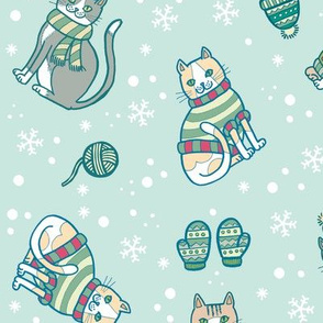 kittens with mittens in green