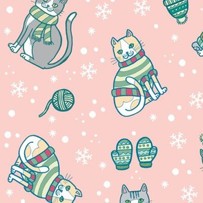 kittens with mittens in pink