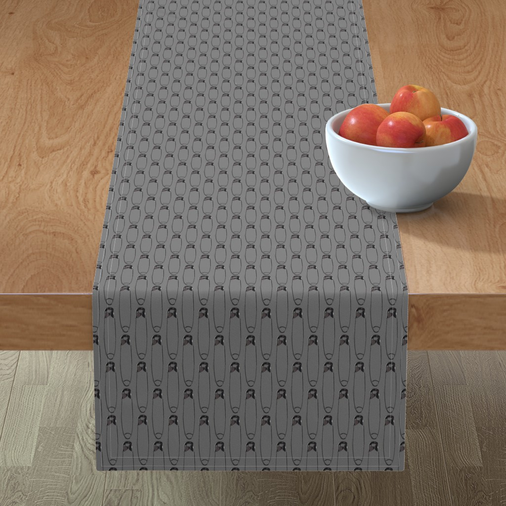 Minorca Table Runner featuring safe with me gray by rebelinn