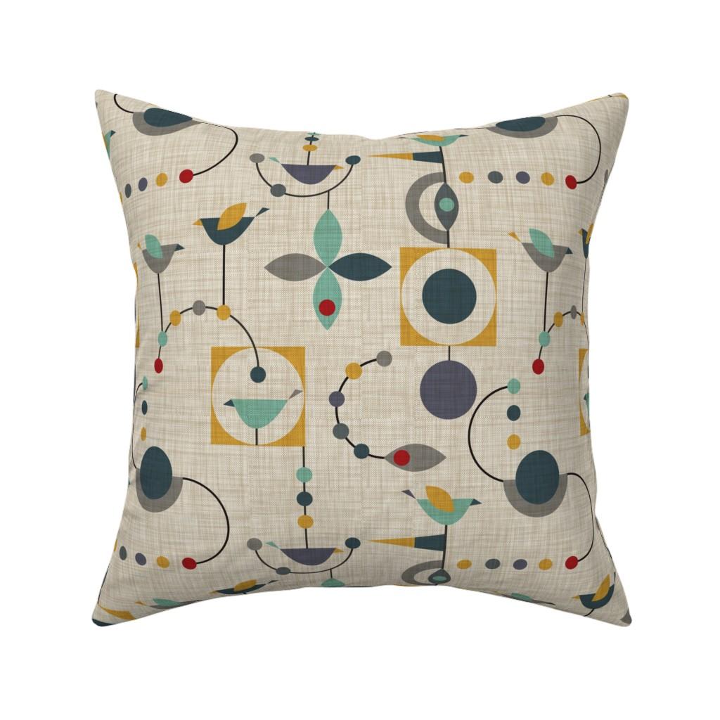 Catalan Throw Pillow featuring birdland geometric larger by vo_aka_virginiao