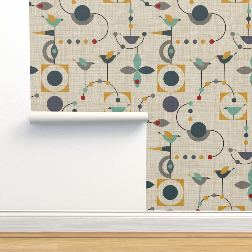 Isobar Durable Wallpaper featuring birdland geometric larger by vo_aka_virginiao