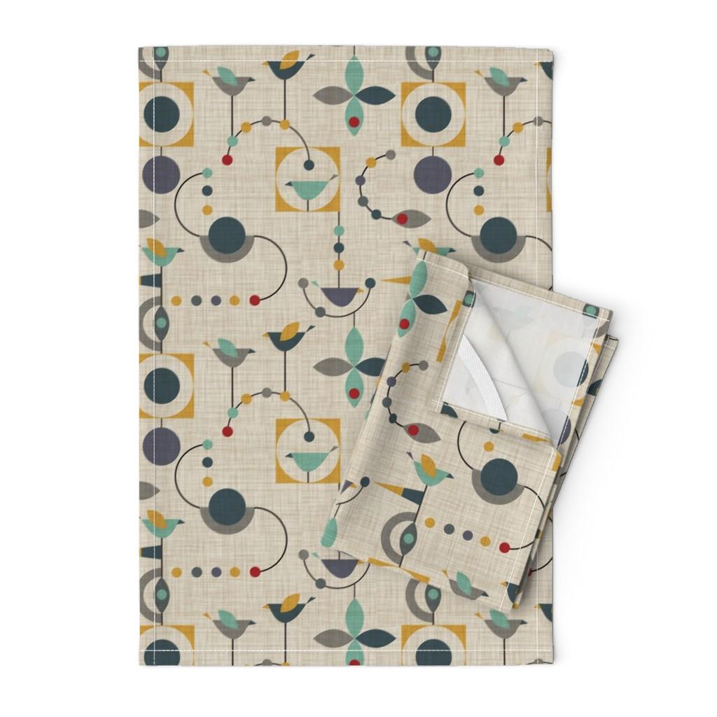 Orpington Tea Towels featuring birdland geometric larger by vo_aka_virginiao