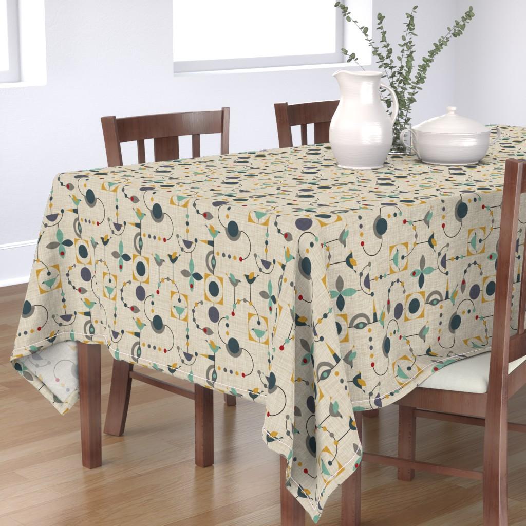 Bantam Rectangular Tablecloth featuring birdland geometric larger by vo_aka_virginiao