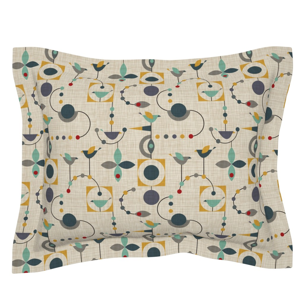 Sebright Pillow Sham featuring birdland geometric larger by vo_aka_virginiao