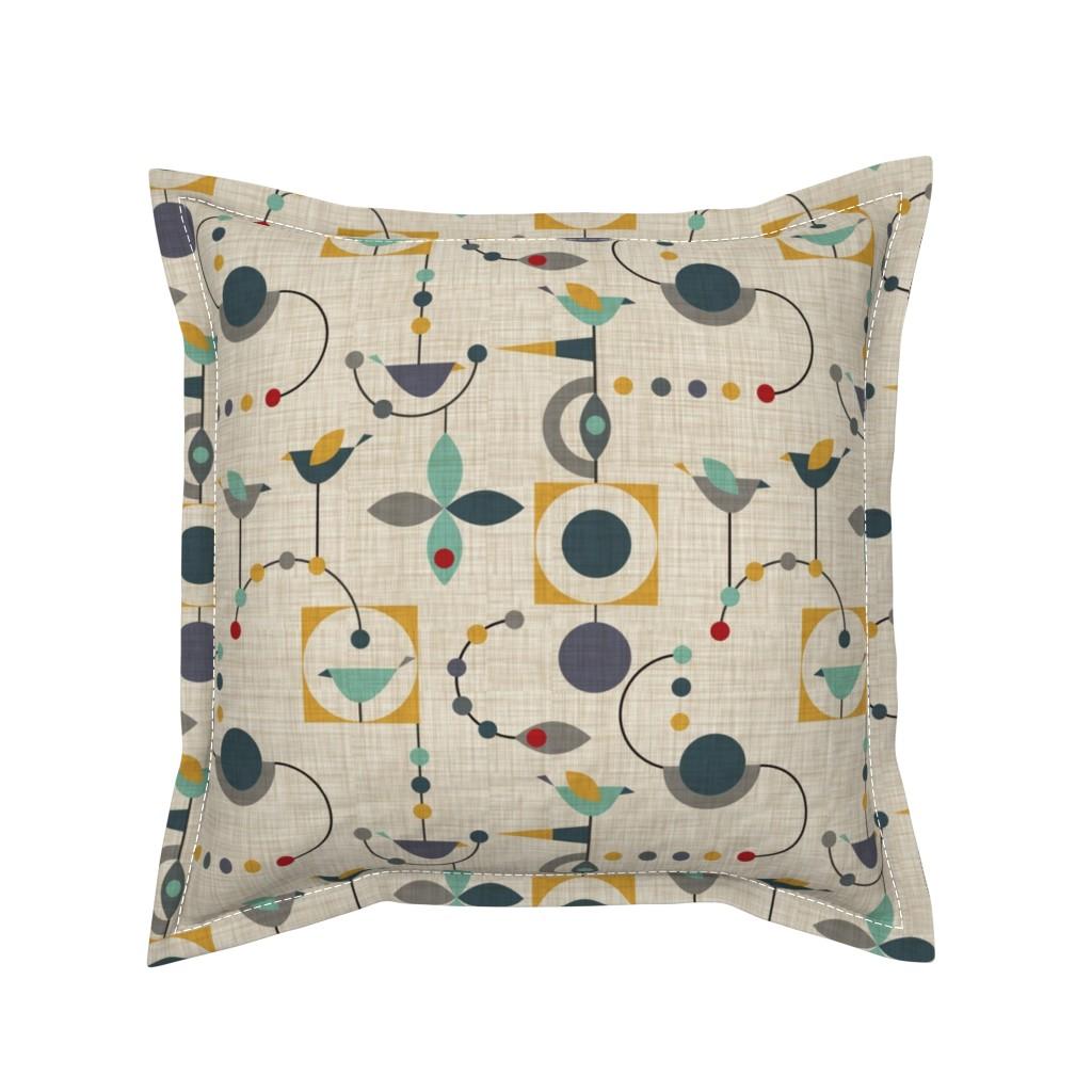 Serama Throw Pillow featuring birdland geometric larger by vo_aka_virginiao