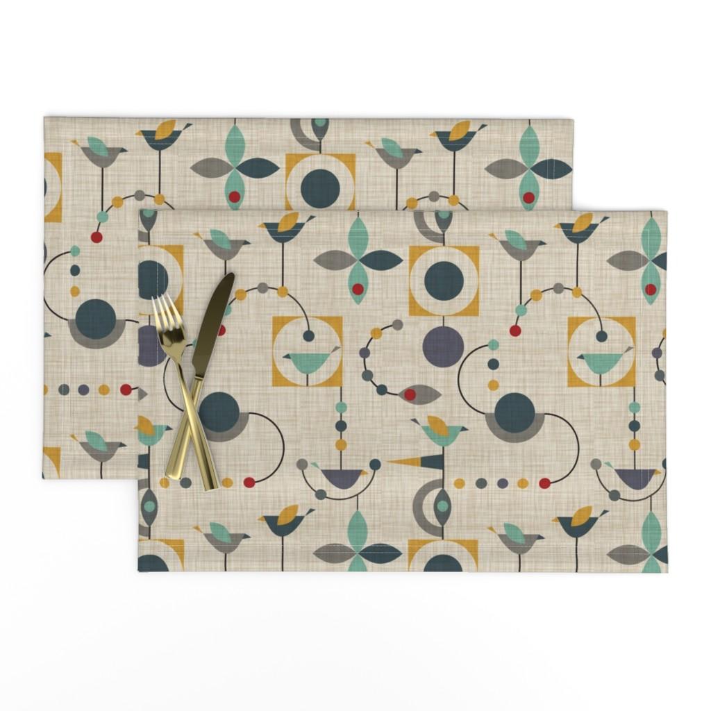 Lamona Cloth Placemats featuring birdland geometric larger by vo_aka_virginiao