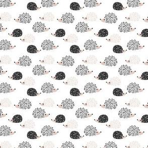Scandinavian sweet hedgehog illustration for kids gender neutral black and white SMALL