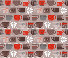 Snow Day Cocoa Mugs & Fuzzy Sweaters - Cocoa & Red