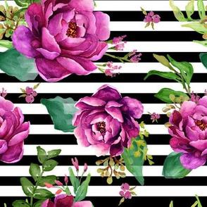 Pink Sunrise - Black and White Stripes