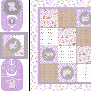 DIY  Safari  Baby Girl Purple & Grey 6 piece Baby Shower Gift Set Panel quilt, Pillow, Bibs and Rattle