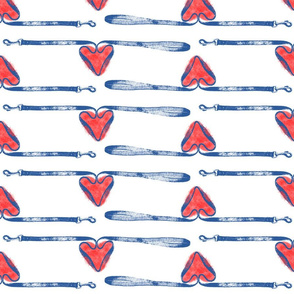 Dog leashes of love - blue on white
