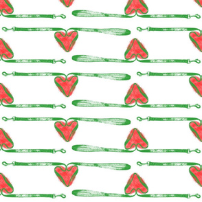 Dog leashes of love - green on white