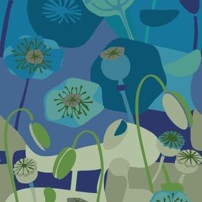 Mod Poppies-deep blue
