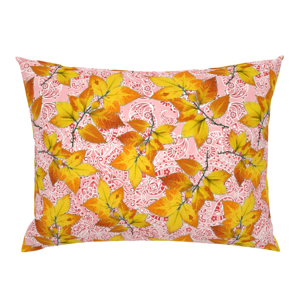Campine Pillow Sham featuring Pink Paisley Autumn Leaves by patriciasheadesigns