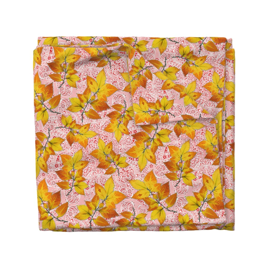 Wyandotte Duvet Cover featuring Pink Paisley Autumn Leaves by patriciasheadesigns