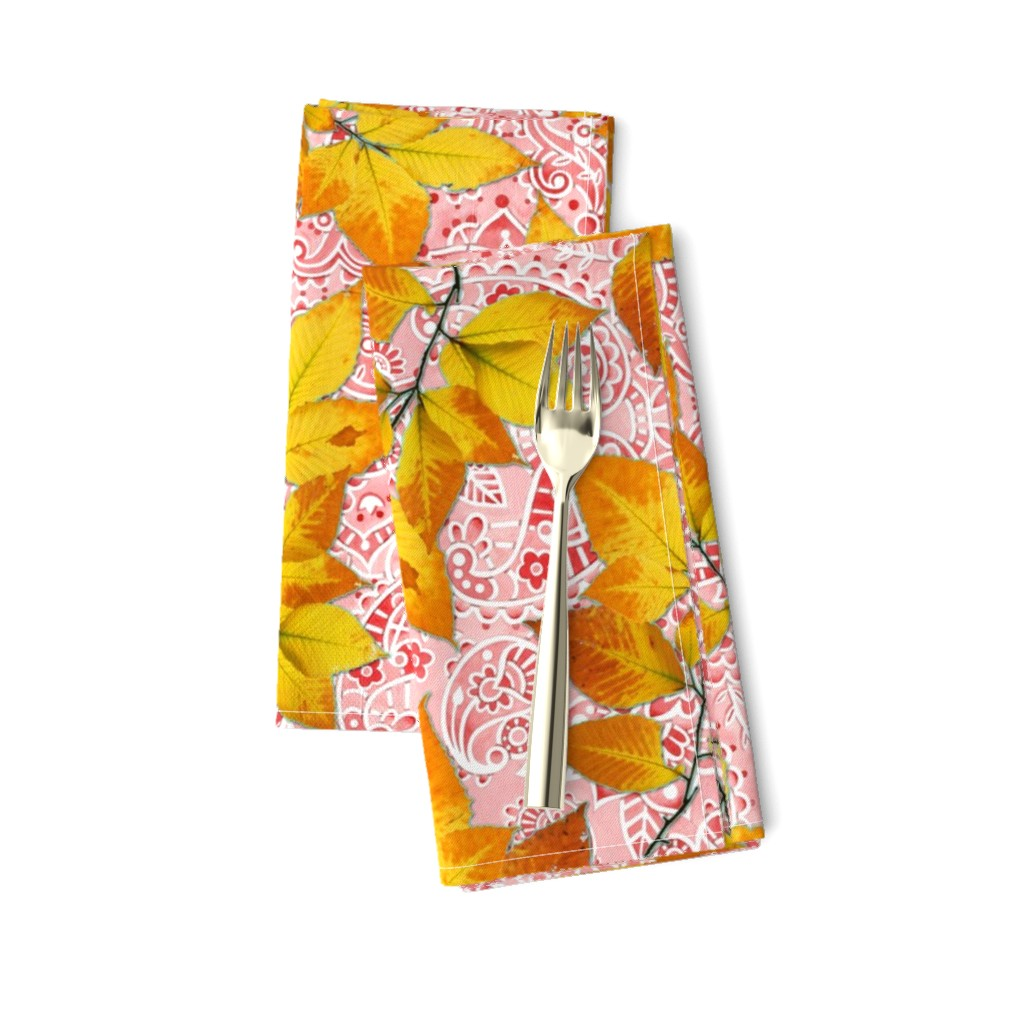 Amarela Dinner Napkins featuring Pink Paisley Autumn Leaves by patriciasheadesigns