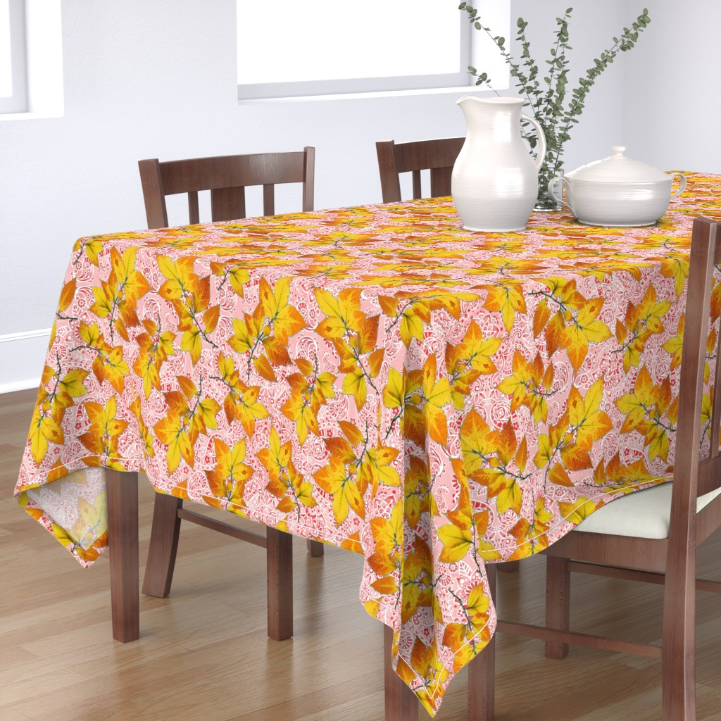 Bantam Rectangular Tablecloth featuring Pink Paisley Autumn Leaves by patriciasheadesigns