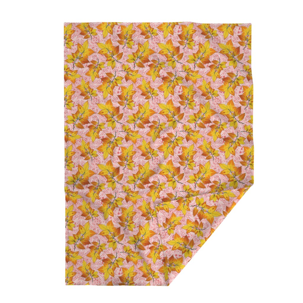 Lakenvelder Throw Blanket featuring Pink Paisley Autumn Leaves by patriciasheadesigns