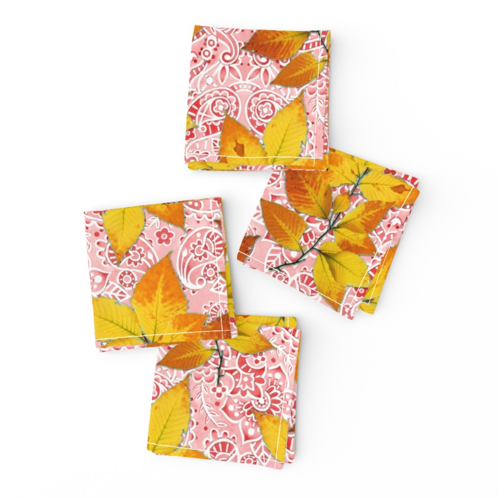 Frizzle Cocktail Napkins featuring Pink Paisley Autumn Leaves by patriciasheadesigns