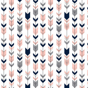 small scale - fletching arrows    pink&navy wholecloth coordinate