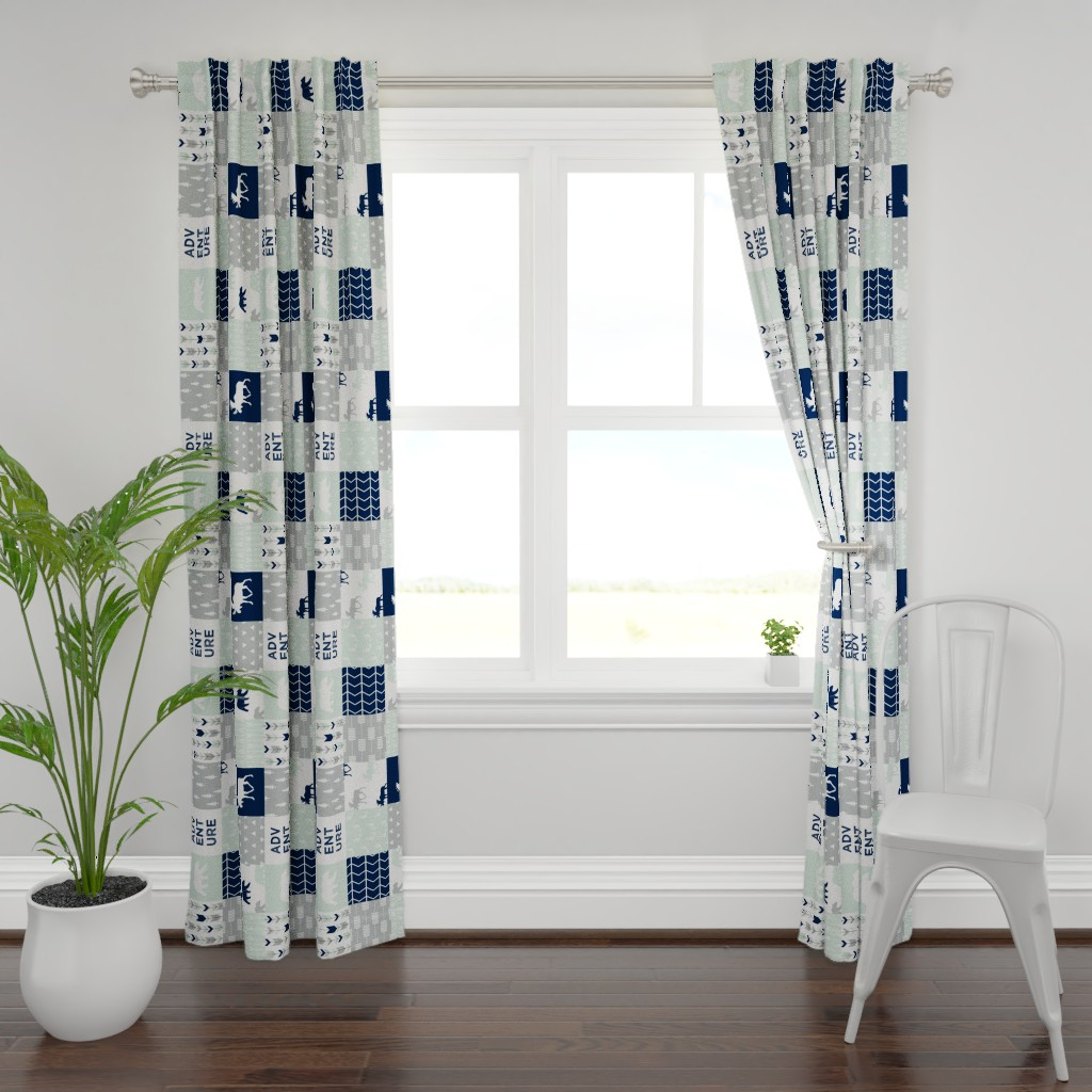 Plymouth Curtain Panel featuring Adventure Wholecloth Patchwork (90) || the northern lights by littlearrowdesign