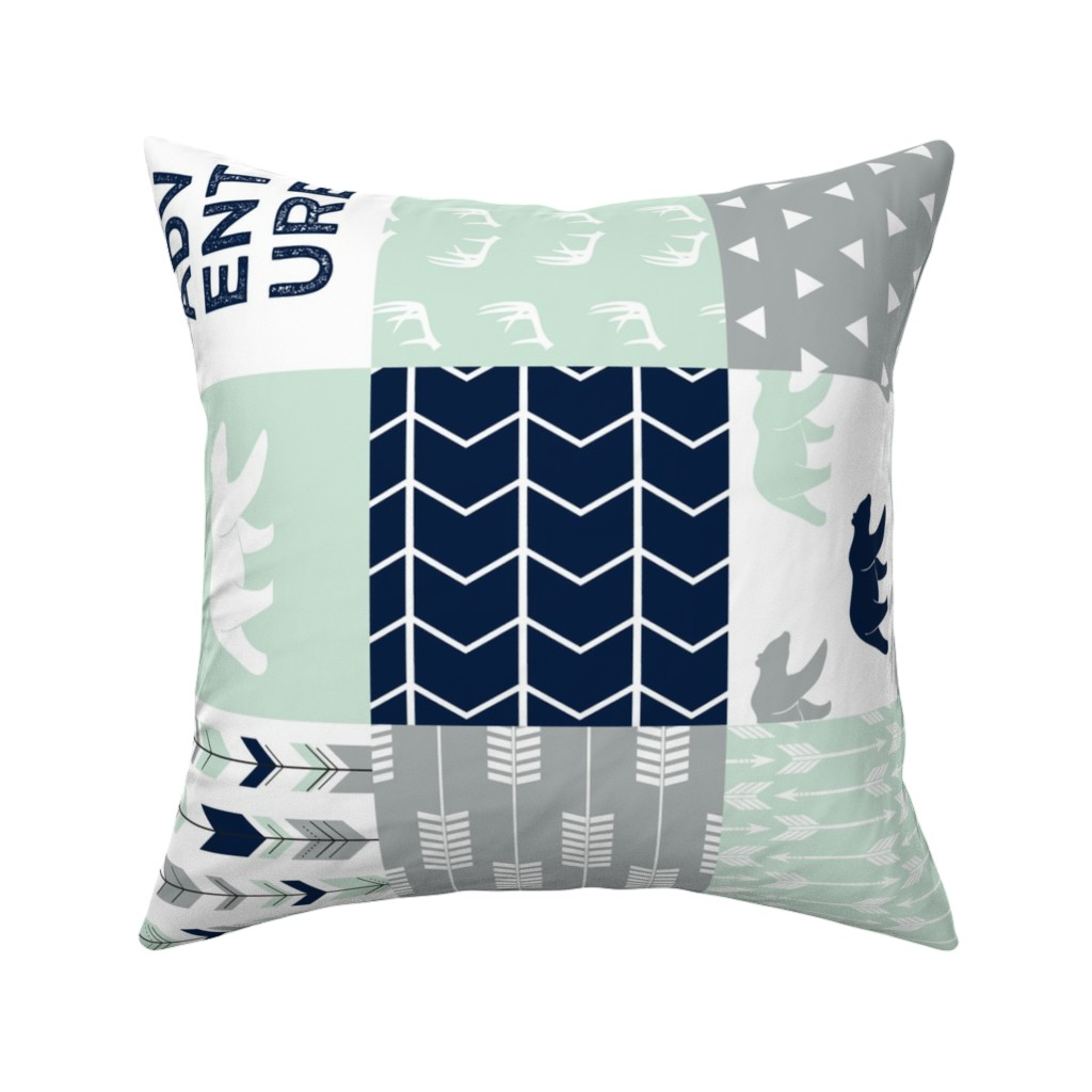 Catalan Throw Pillow featuring Adventure Wholecloth Patchwork (90) || the northern lights by littlearrowdesign