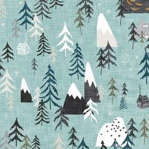 Forest Peaks (sky blue) MED