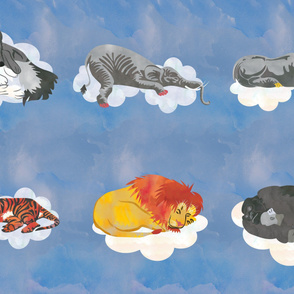 Blue Sleeping Animals Fabric