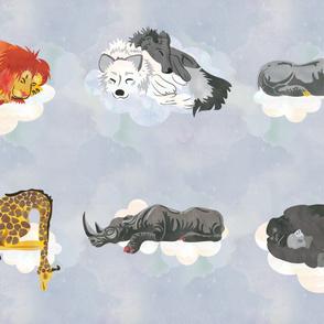 Cool White Sleeping Animals Fabric