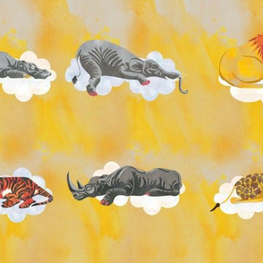Gold Sleeping Animal Fabrics