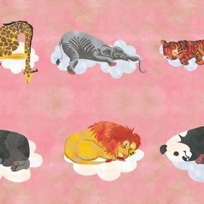 Pink Sleeping Animals Fabric