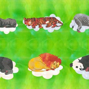 Lime Green Sleeping Animals  Fabric