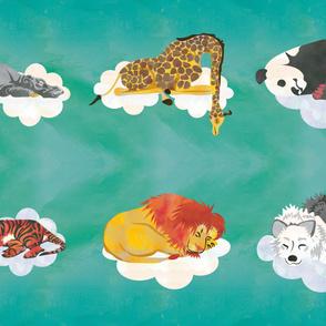 Teal Sleeping Animals  Fabric