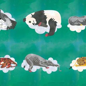 Deep Teal Sleeping Animals  Fabric