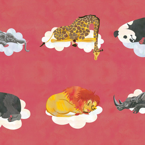 Red Sleeping Animals Fabric